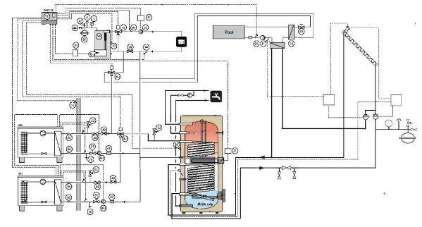 ...в бойлере и... Одна из схем. системы отопления в составе газового...